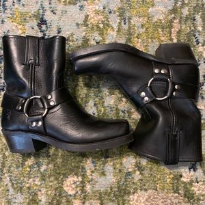 The Frye Company Black Leather Harness Boots